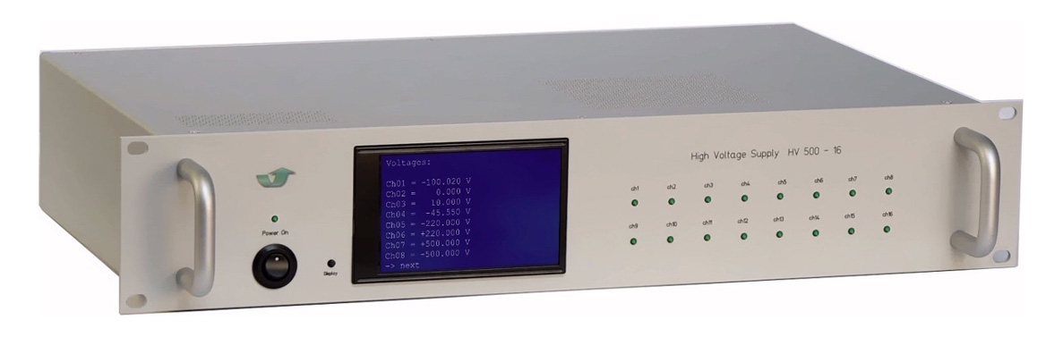 HV 500-16: bipolar multichannel high voltage source with continuous zero crossing for ion optics and beam lines