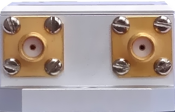 Front view (inputs) of highly sensitive voltage preamplifier PRE-3-SMA