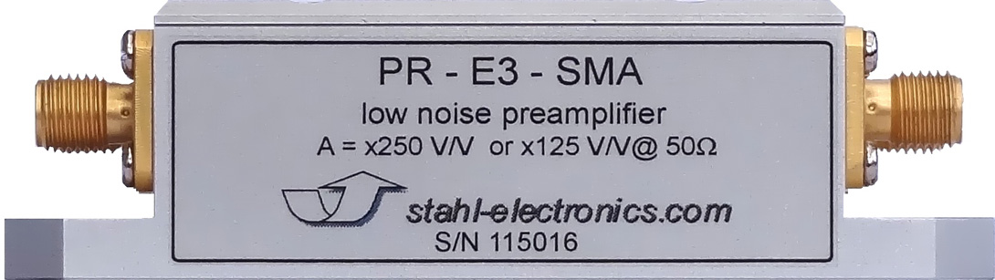 Side view of highly sensitive voltage preamplifier PRE-3-SMA