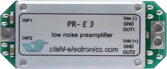 top view of highly sensitive voltage preamplifier PR-E 3